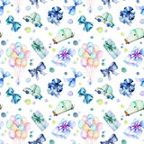 Holiday seamless pattern with watercolor gift boxes, air balloons, cars and bows in blue shadows. Hand painted on a white background Royalty Free Stock Photography
