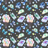 Holiday seamless pattern with watercolor gift boxes, air balloons, cars and bows in blue shadows. Hand painted on a dark background Royalty Free Stock Photography