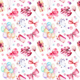 Holiday seamless pattern with watercolor gift boxes, air balloons, flowers and bows in pink shadows. Hand painted on a white background Stock Images