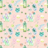 Holiday seamless pattern with watercolor gift boxes, air balloons, wine bottles, wine glasses and floral elemnts in green and blue. Shadows, hand painted on a Royalty Free Stock Photos