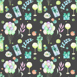 Holiday seamless pattern with watercolor gift boxes, air balloons, wine bottles, wine glasses and floral elements. In green and blue shadows, hand painted on a Royalty Free Stock Image