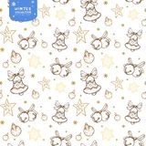 Holiday seamless pattern with bells, Christmas balls and stars in golden colors on white background royalty free illustration