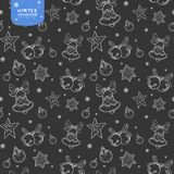 Holiday seamless vector pattern with bells, Christmas balls and stars in silver colors on dark background royalty free illustration