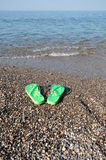Holiday at the seaside - flip-flops on beach. Holiday at the seaside flip-flops on beach Royalty Free Stock Photo