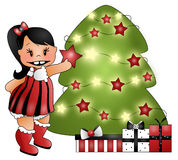 Hanging Ornaments. Illustration of a young girl putting a star on a tree. Tree with bright star lights with presents near stock illustration