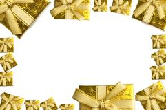 Holiday season background template with golden gift boxes Stock Image