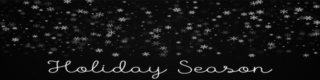Holiday Season greeting card. Sparse snowfall background. Sparse snowfall on black background. Ravishing vector illustration Royalty Free Stock Photos
