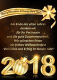 Holiday season greeting card `Merry Christmas and Happy New Year` 2018, designed for the German market Stock Images