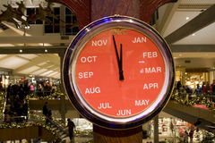 Holiday Season, Shopping Time. A month clock in a mall showing it is holiday season for shopping stock images