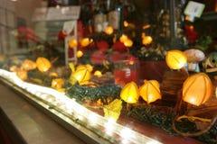 Holiday season. Window display of Christmas lights Royalty Free Stock Photography
