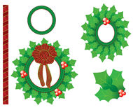 Holiday Season Wreath Set. Beautiful holiday season wreath set and border Stock Photo