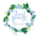 Holiday seasonal card with round frame of forget me not flowers Royalty Free Stock Photography