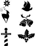 Holiday Set. Set of 6 holiday icons in black Stock Photography
