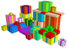 Holiday set. Holiday attributes (a lot of colorful presents in boxes Stock Photography