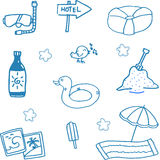 Holiday set in beach doodle Royalty Free Stock Image