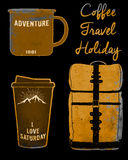 Holiday set coffee mug and bag tee graphic design vintage style Stock Photography