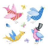 Holiday set with cute watercolor birds. Hand drawn watercolor objects on white. The author is Ekaterina Mikheeva, date of creation - March, 2016 Royalty Free Illustration