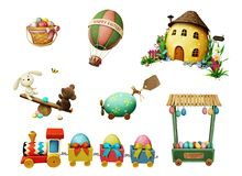 Easter holiday set. Holiday Set of festive Easter items for greeting card or poster. Computer graphics stock illustration