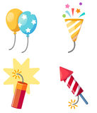 Holiday set firecracker,balloon,popper party isolated vector ill Stock Image