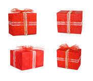 Holiday set gift boxes decorated with bows and ribbons Royalty Free Stock Photos