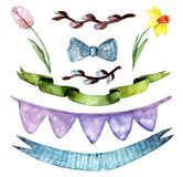 Holiday set, happy easter, watercolor flowers, ribbons vector illustration