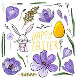 Easter set of isolated hand-drawn illustrations of Crocuses, mimosa and bunny royalty free illustration
