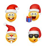 Holiday Set of Smiley face emoticons christmas Santa Claus royalty free illustration
