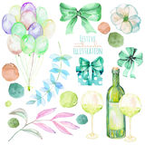 Holiday set of watercolor gift box, air balloons, champagne bottle, bows, wine glasses and floral elements in green shadows Stock Photo