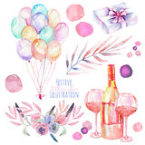 Holiday set of watercolor gift box, air balloons, champagne bottles, wine glasses and floral elements in pink and purple shadows. Holiday set of watercolor gift Royalty Free Stock Photo