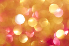 Holiday shiny blurry lights. In yellow colors Stock Image