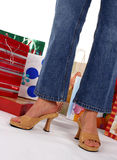 Holiday Shopper. Waist down of a holiday shopper Royalty Free Stock Photography