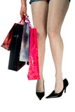 Holiday shopper. Woman In Shopping, isolated on white bavkground Royalty Free Stock Photography