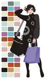 Holiday shopping. Vector drawing of the woman with shopping bags Stock Photography