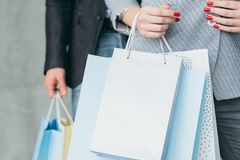 Holiday shopping gifts buying woman carrying bags. Holiday shopping and gifts buying concept. cropped shot of women carrying multiple bags royalty free stock photography
