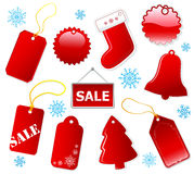 Holiday shopping red tags. Royalty Free Stock Images