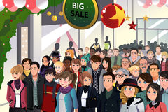 Holiday shopping sale scene. A vector illustration of Holiday shopping sale scene stock illustration