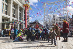 Holiday Shrovetide in Moscow at the Manezhnaya square, children playing, Stock Photography