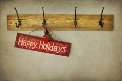 Holiday sign on antique plaster wall Royalty Free Stock Image