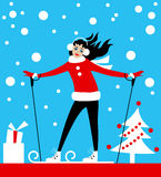 Holiday skiing Christmas card Royalty Free Stock Photography