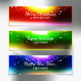 Holiday sky with best wishes banner set Stock Images