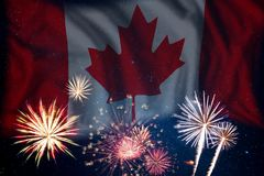 Fireworks and flag of Canada Stock Photo