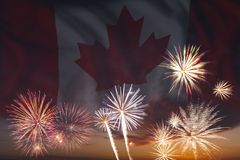Fireworks and flag of Canada Stock Images