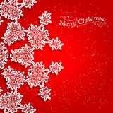 Holiday snowflake on red background. Festive snowflake. Christmas design for card, banner, invitation, leaflet and so on Royalty Free Stock Photos