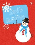Holiday snowman. A winter scene.  Happy Holiday card with a snowman holding a sign that reads Happy Holidays with a snowing red background Royalty Free Stock Photography