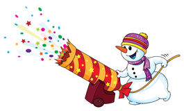 Holiday snowman. Illustration of a holiday snowman Stock Photography