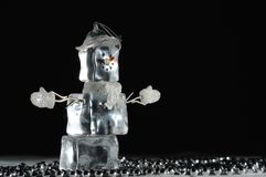 Holiday Snowman decoration made of Ice Royalty Free Stock Photos