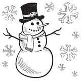 Holiday snowman drawing. Doodle style holiday snowman illustration in vector format Royalty Free Stock Photo