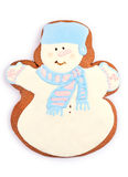 Holiday Snowman Gingerbread Man Cookie over White Stock Images