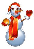 Holiday Snowman in red Stock Photo