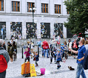 Holiday soap bubbles in the street in Prague Royalty Free Stock Photography